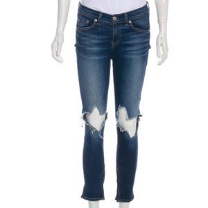 Rag & Bone distressed Capri zipper skinny jeans